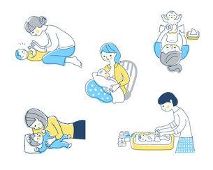 赤ちゃんとママ さまざまなシーン セットのイラスト素材 [FYI04879942]