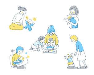 赤ちゃんとママ さまざまなシーン セットのイラスト素材 [FYI04879943]
