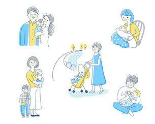 赤ちゃんと家族 さまざまなシーン セットのイラスト素材 [FYI04879944]
