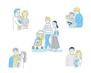 5組の若い家族 セットのイラスト素材 [FYI04879945]