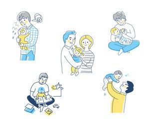 育児をするパパ さまざまなシーン セット のイラスト素材 [FYI04879946]