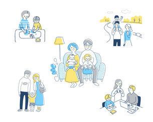 若い家族 ライフスタイルシーン セットのイラスト素材 [FYI04879947]