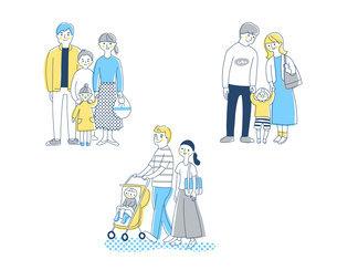 3組の若い家族 セットのイラスト素材 [FYI04879948]
