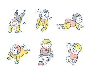 赤ちゃんのいろいろなポーズ セットのイラスト素材 [FYI04879949]