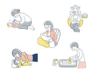 赤ちゃんとママ さまざまなシーン セットのイラスト素材 [FYI04879950]
