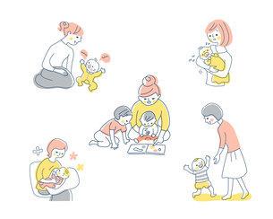 赤ちゃんとママ さまざまなシーン セットのイラスト素材 [FYI04879951]
