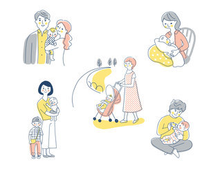 赤ちゃんと家族 さまざまなシーン セットのイラスト素材 [FYI04879952]