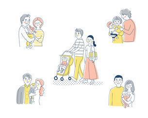5組の若い家族 セットのイラスト素材 [FYI04879953]