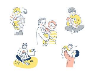 育児をするパパ さまざまなシーン セット のイラスト素材 [FYI04879954]