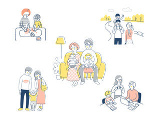 若い家族 ライフスタイルシーン セットのイラスト素材 [FYI04879955]