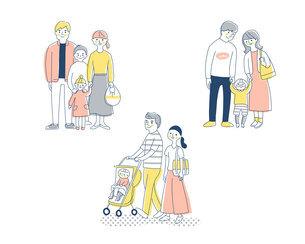 3組の若い家族 セットのイラスト素材 [FYI04879956]