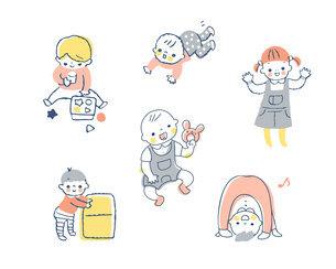 赤ちゃんのさまざまなポーズ セットのイラスト素材 [FYI04879972]