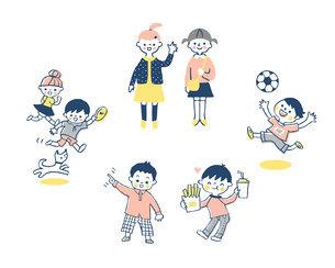 元気な子どもたち セットのイラスト素材 [FYI04879974]