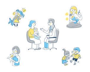 小児科での診察場面と病気の症状 セットのイラスト素材 [FYI04879975]