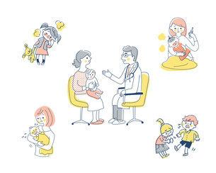 小児科での診察場面と病気の症状 セットのイラスト素材 [FYI04879976]