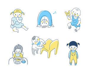 赤ちゃんのさまざまなポーズ セットのイラスト素材 [FYI04879979]