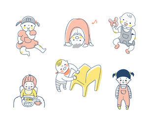 赤ちゃんのさまざまなポーズ セットのイラスト素材 [FYI04879980]