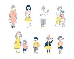 さまざまな年齢の子どもたち セットのイラスト素材 [FYI04879982]