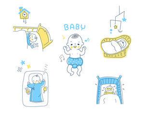 眠っている赤ちゃんのさまざまなシーン セットのイラスト素材 [FYI04879983]