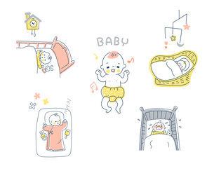 眠っている赤ちゃんのさまざまなシーン セットのイラスト素材 [FYI04879984]