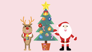 Santa and reindeer with a treeのイラスト素材 [FYI04880300]