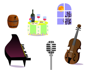 Dining concert objectsのイラスト素材 [FYI04880929]