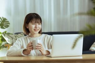 リビングでオンライン学習中の若い女性の写真素材 [FYI04881138]