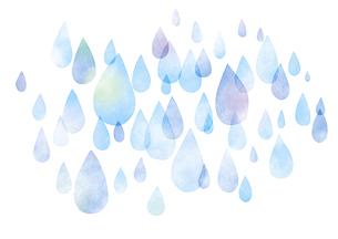 水彩調雨の背景 ブルーのイラスト素材 [FYI04881681]