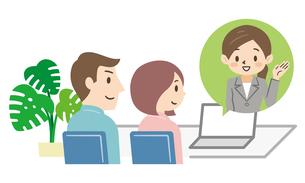 オンラインで相談する夫婦のイラストレーションのイラスト素材 [FYI04881892]