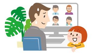 オンライン会議中に子供に話しかけれれ困るビジネスマンのイラスト素材 [FYI04881915]