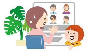 オンライン会議中に子供に話しかけれれ困る母親のイラスト素材 [FYI04881916]
