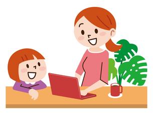 在宅勤務で子育てをする女性のイラスト素材 [FYI04881918]