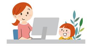 在宅勤務で子育てをする女性のイラスト素材 [FYI04881920]