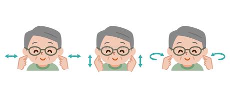 耳ストレッチをするシニア男性のイラスト素材 [FYI04882008]