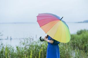 雨の中、カラフルな傘を指す女性の写真素材 [FYI04883322]