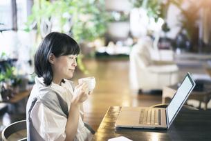 暖かい雰囲気の空間で、ノートパソコンの画面を見る女性の写真素材 [FYI04883371]