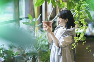 笑顔で観葉植物の様子を見る若い女性の写真素材 [FYI04883381]