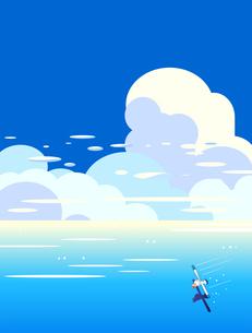 カモメと青い海と夏空の積乱雲のイラスト素材 [FYI04883531]
