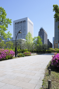 ツツジの花の咲く石畳の道と有楽町の高層ビルの写真素材 [FYI04883895]