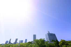 代々木公園の歩道橋から見る新緑と高層ビル群の写真素材 [FYI04883921]