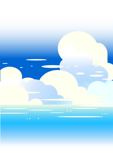 青い海と夏空の積乱雲のイラスト素材 [FYI04884424]