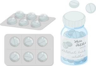 お薬のアイコン(白の錠剤)のイラスト素材 [FYI04884558]