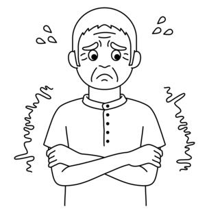 寒そうにしている高齢者【白黒イラスト】のイラスト素材 [FYI04885404]