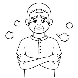 溜息をついている高齢者の白黒イラスト【おじいさん】のイラスト素材 [FYI04885407]