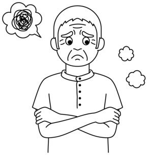 腕を組んで困った表情の高齢者【白黒イラスト】のイラスト素材 [FYI04885408]
