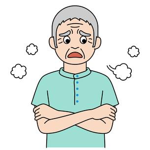 腕を組んで溜息をついている高齢者【カラーイラスト】のイラスト素材 [FYI04885409]