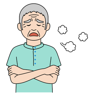 両腕を組んで溜息をついている高齢者【カラーイラスト】のイラスト素材 [FYI04885412]