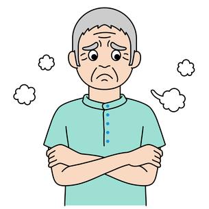 溜息をついている高齢者のカラーイラスト【おじいさん】のイラスト素材 [FYI04885414]