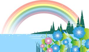 朝顔が咲き,虹が出てる夏の風景のイラスト素材 [FYI04885431]