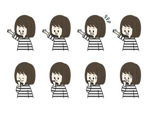 女の子の表情セットのイラスト素材 [FYI04885696]